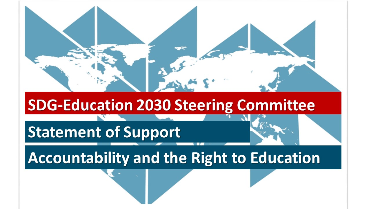 SDG-Education 2030 Steering Committee's Statement of Support on the Right to Education, March 2018