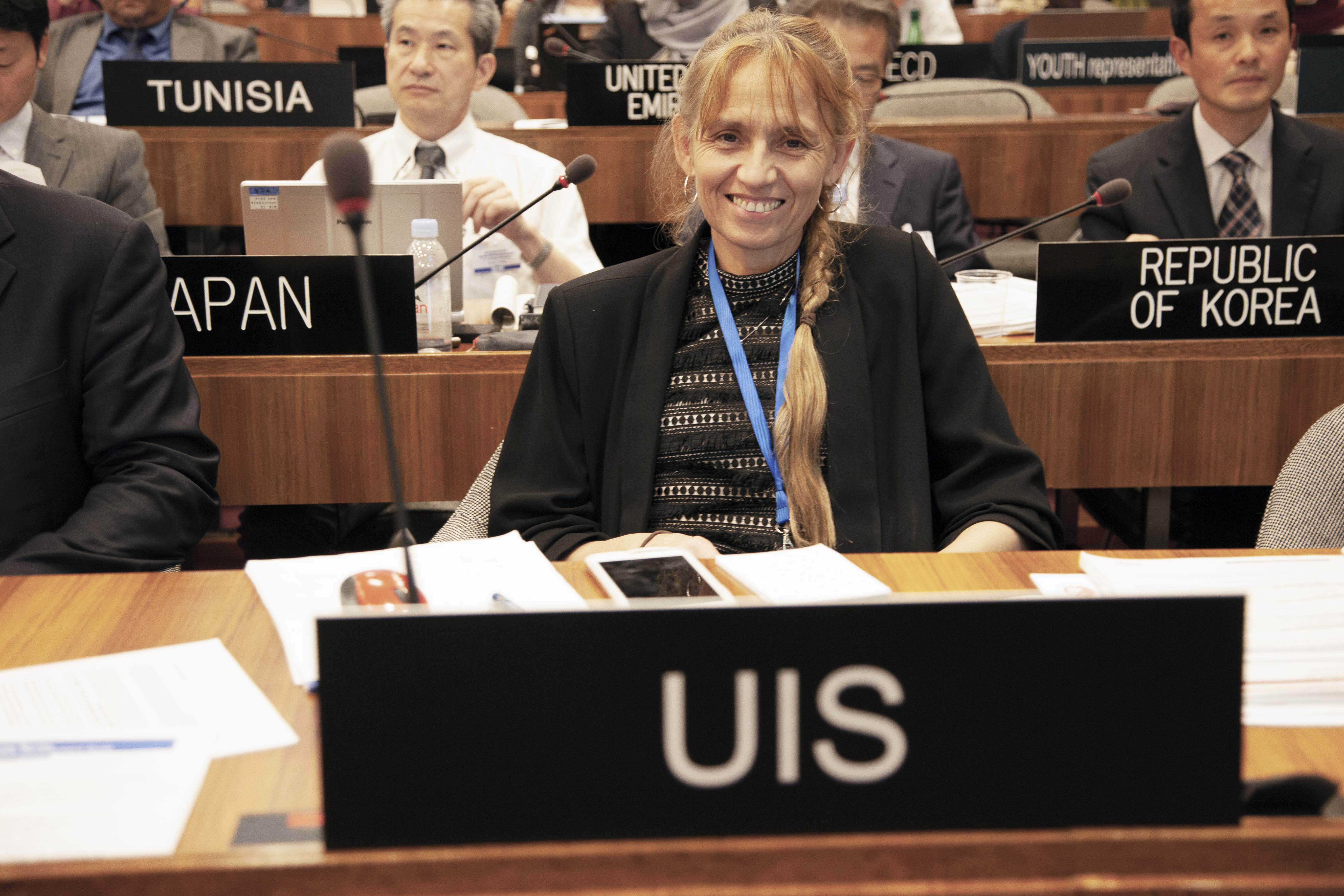 Sylvia Montoya, Director of the UNESCO Institute for Statistics at the SDG-Education 2030 Steering Committee's 5th meeting on 12 September 2018