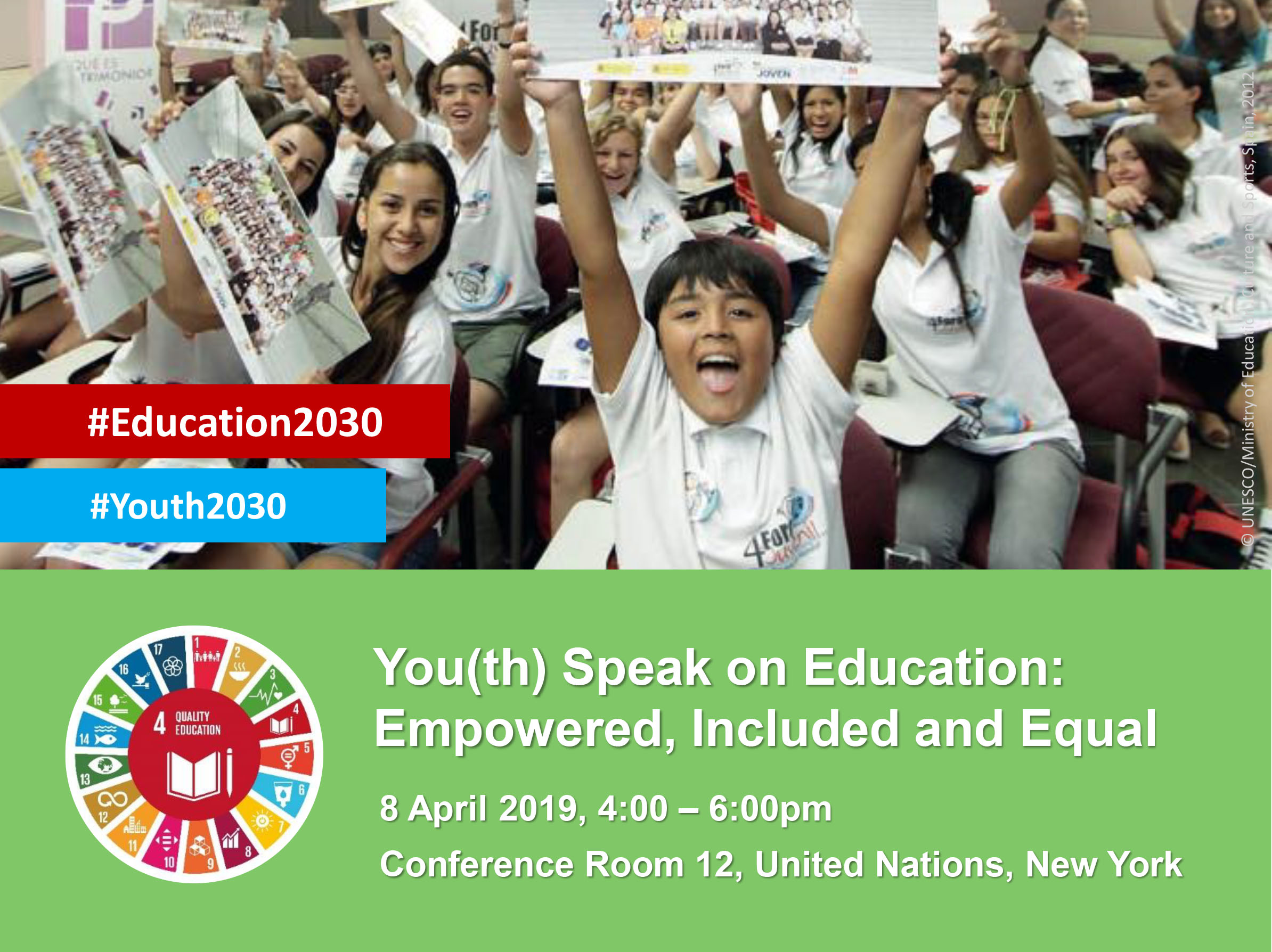 You(th) Speak on Education: Empowered, Included and Equal, UN HQ, 8 April 2019