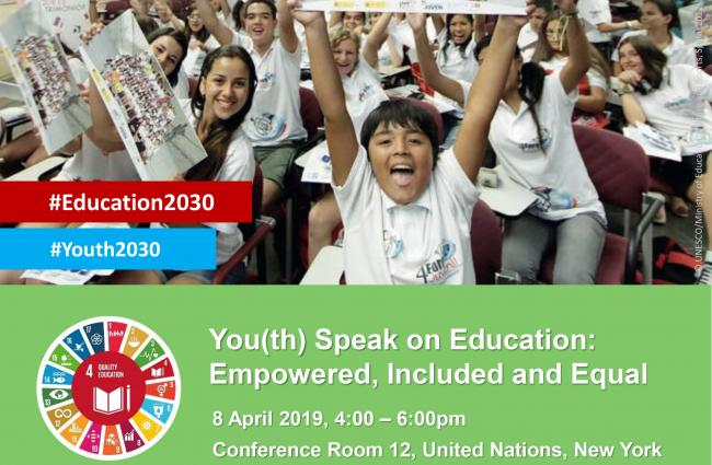 You(th) Speak on Education: Empowered, Included and Equal, UN HQ, 8